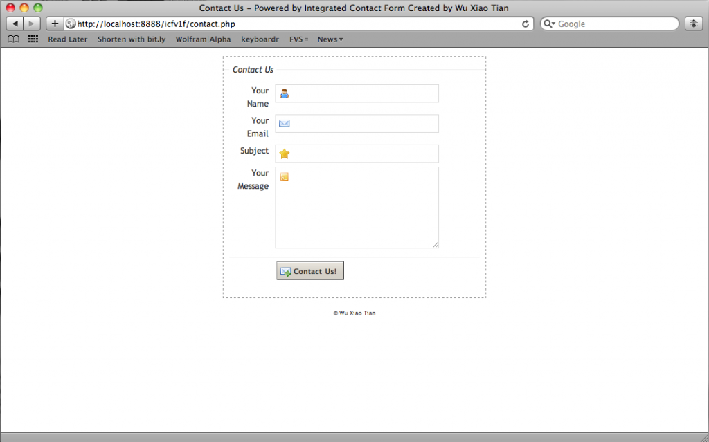 New Integrated Contact Form default theme